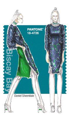 Daniel Silverstain in Pantone Biscay Bay - FALL 2015 PANTONE's FashionColorReport