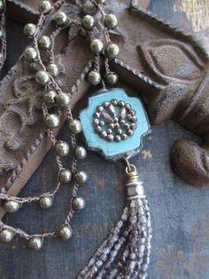 SALE Cross tassel necklace - FringeWorthy - blue gray grey crochet long necklace eco chic boho by slashKnots by slashKnots on Etsy https://www.etsy.com/listing/231071344/sale-cross-tassel-necklace-fringeworthy