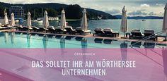 Seenurlaub in Österreich: Tipps für den Wörthersee   Miss Phiaselle   A Happy Life Wakeboard, Logs, Weather, Movie Posters, Movies, Water Ski, Speed Boats, Modern Interior Decorating, Beautiful Hotels