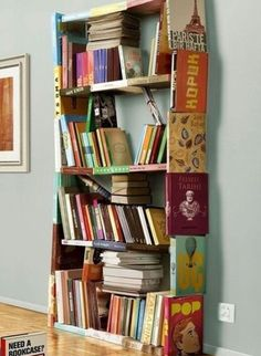 A bookshelf made out of books? Yes please!