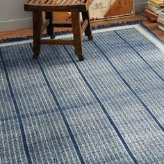 Indigo Rail Cotton Dhurrie | west elm 5x8 $199 (fringe may not be best for entry)