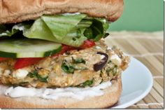 Greek veggie burgers (follow all the vegan suggestions) by Peas and Thank You