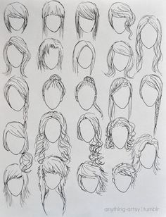 how to draw anime characters step by step for beginners - Anime hair Drawing Techniques, Drawing Tips, Drawing Sketches, Painting & Drawing, Drawing Ideas, Sketching, Hair Styles Drawing, Beginner Drawing, Girl Hair Drawing