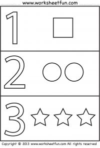 numbers and shapes 4 worksheets - Learning Printables For 2 Year Olds