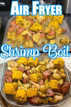 Air Fryer Shrimp Boil Recipe is easy to do, loaded with those rich and savory flavors, you know and love from a classic shrimp boil. No need to grab that large pot to make a shrimp boil, reach for your Air Fryer instead! I have the best shrimp boil recipe Air Fryer Recipes Breakfast, Air Fryer Oven Recipes, Air Frier Recipes, Air Fryer Dinner Recipes, Air Fryer Recipes Shrimp, Recipes Dinner, Healthy Chicken Recipes, Shrimp Recipes, Easy Recipes