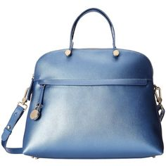 Furla Piper Large Dome (£380) ❤ liked on Polyvore featuring bags, handbags, shoulder bags, purses, indaco, structured handbag, furla, furla purses, flat purse e blue shoulder bag