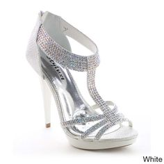 Add a little glitz and glam to your dress with these dress sandals, featuring open round toe front, glittering upper, closed back with zip closure, strappy design with rhinestone accent, ankle t-strap, and padded insole.