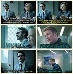 Nelson and Murdock as Bucky's lawyers. <-it'd be the perfect way to include them<<<YES PLEASE