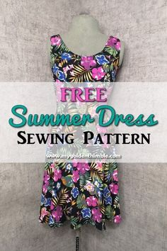 Instant pdf download of a simple yet beautiful summer dress pattern with half-circle skirt and no sleeves. #freesewingpatterns Easy Sewing Patterns, Sewing Ideas, Dress Sewing Tutorials, Sewing Tips, Sewing Hacks, Simple Summer Dresses, Summer Dress Patterns, Thing 1, Diy Dress