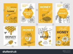 Honeycomb and bees flyer set, organic food design, beehive, jar and flowers layout. Vector hand drawn image natural elements beeswax - Buy this stock vector and explore similar vectors at Adobe Stock Honey Images, Honey Bee Pollen, Food Web Design, Honey Label, Honey Packaging, Bee Honeycomb, Bee On Flower, Hexagon Pattern, Bee Theme