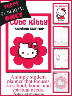 FREE Cute Kitty Themed Student Planner - Limited Time Only