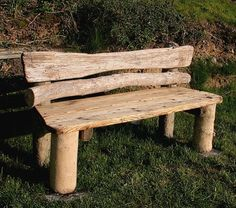 Driftwood Bench...should do this with driftwood I pull from the Potomac. Make some benches for people to sit on along the river.