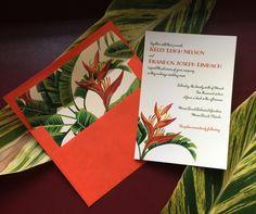 Retro 1950's Tropical Wedding invitation Florida destination wedding Palm leaves Bird of Paradise DEPOSIT