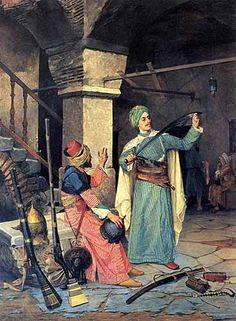 1908 painting of Osman Hamdi Bey showing a Turkish soldier examining a sword in a weapons shop during the Napoleon invasions of palestine. Portrait Photos, Empire Ottoman, Exotic Art, Ouvrages D'art, Turkish Art, Art Database, Art Graphique, Art Plastique, Islamic Art