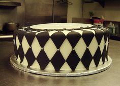 black white harlequin cake. A good start.