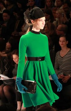 lusting after this emerald green Milly retro dress