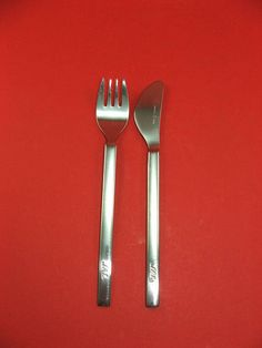 vintage 80s Japanese Airlines JAL metal Airlines flatware set