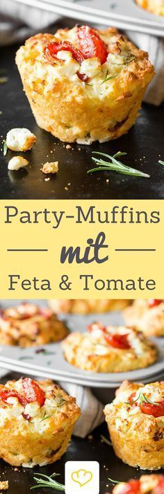 The eye-catcher on your party buffet: tomato feta muffins # .- The eye-catcher on your party buffet: tomato-feta muffins The eye-catcher on your party buffet: tomato-feta muffins! Because muffins can also be hearty! Party Finger Foods, Snacks Für Party, Party Appetizers, Party Drinks, Grilling Recipes, Cooking Recipes, Pizza Recipes, Snacks Recipes, Party Recipes
