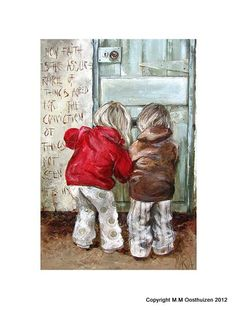 Kinders by die deur by Maria Magdalena Oosthuizen Painting & Drawing, Watercolor Paintings, Art Paintings, Meaningful Paintings, South African Artists, Anime Comics, Amazing Art, Art Drawings, Art Photography
