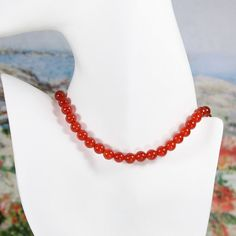 Sterling Silver Round Red Carnelian Bead by JasmineGalleryNC