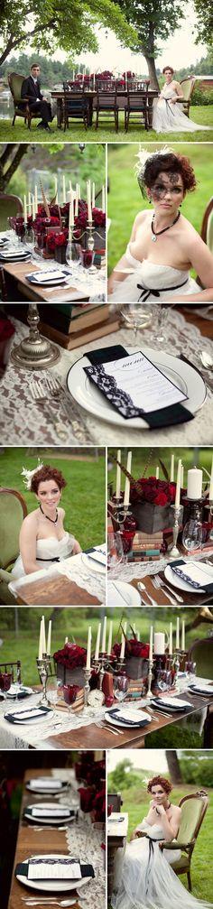 Knotty Bride post - Black veil, love the elaborate table set up and cake Next Wedding, Purple Wedding, Wedding Reception, Dream Wedding, Wedding Shit, Wedding Stuff, Elegant Wedding Dress, Trendy Wedding, Elegant Dresses