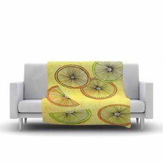 "Rosie Brown ""Lemons And Limes"" Yellow Fruit Fleece Throw Blanket from KESS InHouse"