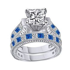 5Ct Blue Sapphire & Diamond Wedding Ring Set 10K Solid White Gold # With Free Stud Earrings by JewelryHub on Opensky