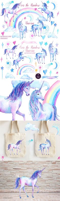 29 #FREE #Watercolor #Clipart Over the #Rainbow Unicorns, #unicorn, rainbow, star, moon, cloud, hearts for instant download. ( #freebie #vector #illustration #art #poster #print )
