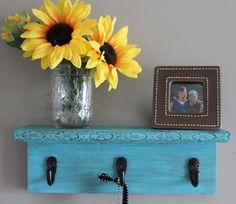 Decorative wall shelf key holder turquoise wall by WinsomeWalls