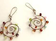 Wire Wrapped Earring Wire Wrapped Jewelry Handmade by NaiveChic, $24.00