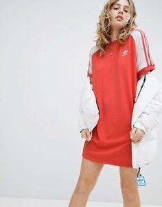 99e2c6fe759 adidas Originals adicolor Three Stripe Raglan Dress In Red Adidas Shoes  Nmd