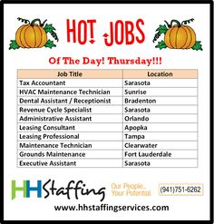 We are getting towards the end of the week, ladies and gentlemen! Have you thought about what you are going to be for #Halloween? HH Staffing will be having our annual costume contest on Friday 10/30/15, so please be sure to either stop by our corporate office in #Sarasota or vote for us on social media. Also, take a look at our hot #jobs of the day and if you see one you like, please apply on our website at www.hhstaffingservices.com. Thank you!
