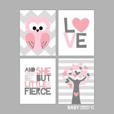 Pink and Grey Nursery art prints, Set of 4, 11x14, Owl, Love, Little Fierce, Tree