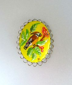 Vintage Bird Brooch, Hand Painted, Signed, Silver Tone Animal Pin, Costume Jewelry Pin - pinned by pin4etsy.com