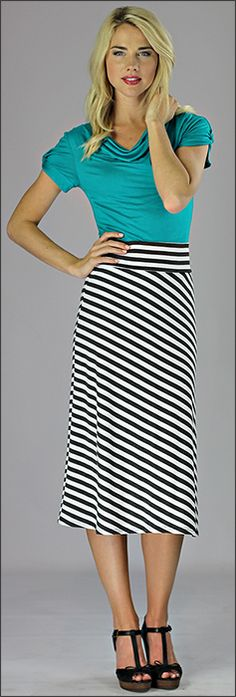 A-Line Knit Skirt Mid Length *CLEARANCE* [W2403] - $14.00 : Mikarose Boutique, Reinventing Modesty