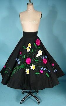 c. 1950's JULI LYNNE CHARLOT Cotton Black 3-D Applicated Felt Circle Skirt!  Unlabeled.