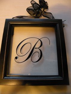 "monogram on the glass of a frame. Put a different piece of scrapbook paper behind it according to what holiday it is. Too bad a cursive ""G"" isn't that pretty..."