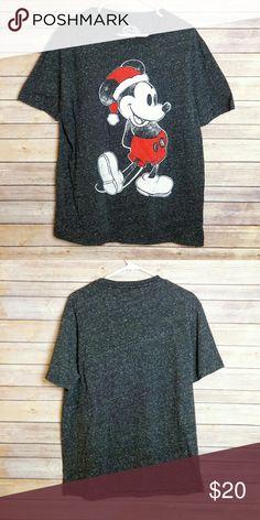 "Mickey Mouse Christmas Disney Shirt Mickey Mouse Christmas Disney shirt.  Great for holiday season. Like new. Space dye print. Shirt has a slight texture to it. 19"" shoulder to shoulder, 22"" armpit to armpit, 30"" long. Disney Shirts Tees - Short Sleeve"
