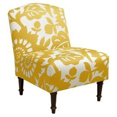 "Floral-print accent chair with a pine wood frame and foam cushioning. Handmade in the USA.   Product: ChairConstruction Material: Pine wood, polyurethane, and polyesterColor: SungoldFeatures: Handmade in the USADimensions: 33"" H x 25"" W x 30"" DCleaning and Care: Spot clean only"