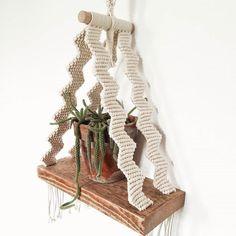 Handmade Macrame Shelf Chevron Polka_knot by polkaknot on Etsy Macrame Wall Hanging Diy, Macrame Plant Hangers, Macrame Art, Macrame Projects, Macrame Knots, Latch Hook Rugs, Hanging Shelves, Hanging Table, Chevron