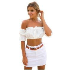 2017 Brand Blouse Shirt Women Top Boho Off Shoulder Crop Top Sexy Summer Short Beach Blouse chemise tube blusa