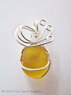 Genuine Golden Yellow English Seaglass Pendant by Sun Sand Seaglass - Sea Glass, Beach Glass, Sterling Silver, Seaglass, Wire Wrapped