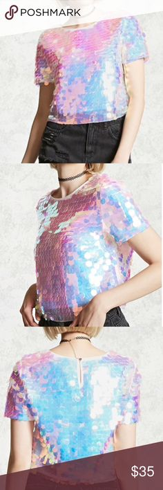 Monochrome top Multi-colored sequined top. Never Worn Tops