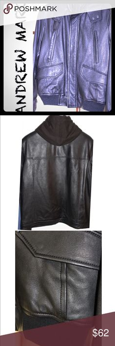 Andrew Marc Mens Leather Hooded Jacket Size Large Awesome Andrew Marc Mens Black Leather hooded Bomber jacket.⬛️ Size Large.⬛️ Excellent condition.⬛️ Worn maybe twice.⬛️ This is a sweet jacket! Paid $400. ⬛️ I have a few more Andrew Marc leather jackets for sale in my closet✅ Andrew Marc Jackets & Coats Bomber & Varsity