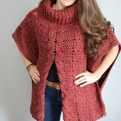 Ravelry: Autumn Breeze Cabled Poncho pattern by MJ's Off The Hook Designs Crochet Cable, Crochet Coat, Crochet Shawl, Crochet Clothes, Crochet Granny, Vintage Crochet Patterns, Crochet Poncho Patterns, Stitch Patterns, Knitting Patterns