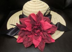 Wide Brimmed Tan Horse Race, Kentucky Derby, Garden Party Hat with Hand Sewn Large Red Flower and Black Bow