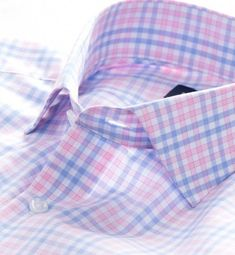 A smooth, lightweight multi check in the perfect shade of pink/white and blue by proper cloth Tailor Made Shirts, Gents Shirts, Short Women Fashion, Womens Fashion, Thomas Pink, Designer Suits For Men, Moda Casual, Elegant Man, Formal Shirts