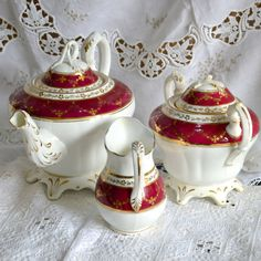 Victorian Tea Set  Large 2 1/2pt Teapot Sugar by Wicksteads, Vintage  Antique  100 Years or Older  Antique  China  Tea Set  Victorian  Ruby Red  Gold  white  Bone China  English trio  cup and saucer  uk  christmas party