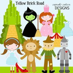 Yellow Brick Road Clip art collection. Great for invitations, cards, and paper goods. Great scrapbooking papers!