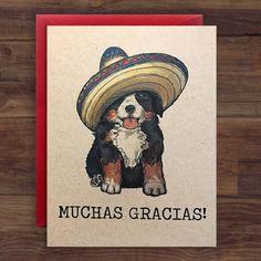 Bernese Mountain Dog  - Muchas Gracias! // Thank You Card / Puppy by SurfariStudios on Etsy